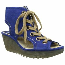 Fly London Yaba 702 Blue Womens Suede Wedge Platform Open Toe Sandals Shoes