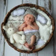 Handmade Baby Bunny Hat & Diaper Cover Grey/White with Fur Like Trim 0-9 Months