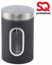 Tin Jar Stainless Steel Nea Tea Sugar Container Canister Set Storage Black 3pc