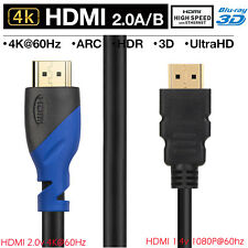 2pcs Short HDMI Cable 3D Ultra HD 1080P 4K@60Hz 28AWG High Speed Gold 50cm 1.5ft