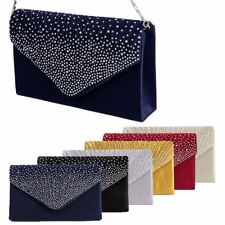 1Pc Women Sparkling Rhinestone Satin Evening Bag Handbag Clutch Purse