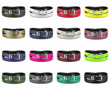 CONCITOR Reversible Belt Solid Colors & Black Bonded Leather Silver-Tone Buckle