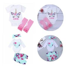 Infant Baby Girls Clothes Floral Printed Jumpsuit Outfit Romper Pants Headband