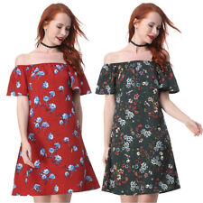 Women Summer Sexy Off Shoulder Strapless Floral Print Pleated MINI Dress 50'S