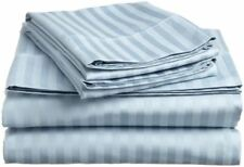 UK Home Collection- All UK Sizes 100% Egyptian Cotton 1000 TC Light Blue Stripe