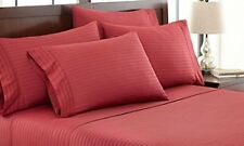 UK Home Collection- All UK Sizes 100% Egyptian Cotton 1000 TC Burgundy Stripe