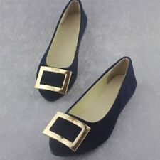 Women Dark Blue Color Spring New Fashion Flats Big Buckle Shoes Size 35-42