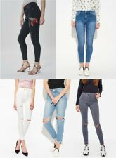 Ladies Womens High Waisted Jeans Ripped Knee Floral Skinny Stretch Denim Legging