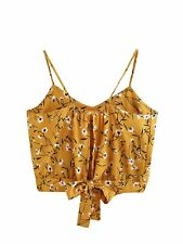 MakeMeChic Women's Self Tie Back V Neck Crop Cami Top Camisole