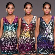 Womens Sexy Deep V Neck Glitter Sequins Bodycon Evening Clubbing Cocktail Dress