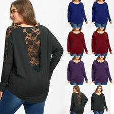 Oversize Womens Tops Long Sleeve Casual Baggy Lace Backless T Shirt Loose Blouse