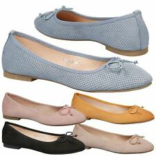 Womens Flats Low Heels Dolly Shoes Ballerinas Ladies Ballet Pumps Bow Size New