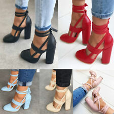 Womens Party Pointed Toe Lace Up Ankle Strap Sandals Block High Heels Shoes Size