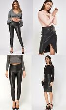 Faux Leather PU Black ExBranded Trousers/Skirts/Leggings Size 6-8-10-12-14-16-18