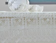 New Design White Color Embroidered Floral Plaid Patter Lace Tablecloth
