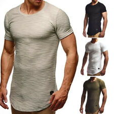 Mens Short Sleeve Muscle Fit T-shirts Solid Plain Blouse Tee Crew Neck Slim Tops