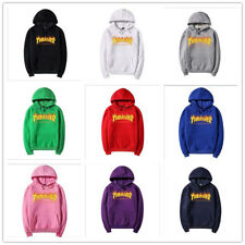 Thrasher Logo men and women with the flame fleece hoodies Couple Top
