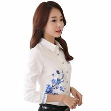 White Color New Fashion Spring Style Work Wear Printed Shirt For Women