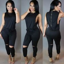 Women Sleeveless Solid Pattern Black Color Two Piece Bodycon Jumpsuit