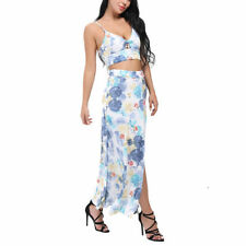 Woman's Sexy Floral Crop Top Two Piece Dress Suit With Long Open Front Skirt