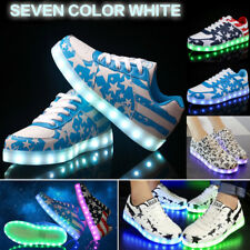 Women Men 7 Color LED Light Up Shoes Casual Lace Up USB Charge Luminous Sneakers