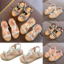 Kid's Girl's T-straps Bow Pearl Flat Ankle Sandals Shoes Casual Party Shoes Size