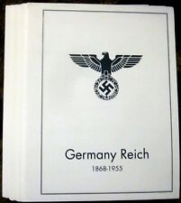GERMANY REICH 1868-1955 STAMP ALBUM PAGES (100 B&W illustrated pages)