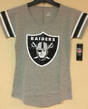 Oakland Raiders Youth Girls Short Sleeve T-shirt Gray Color - NFL Licensed