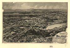 Poster Print Antique American Cities Towns States Map East Walpole Norfolk Mass