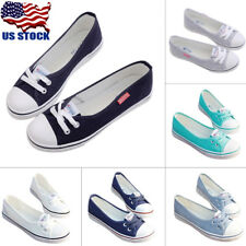 US Womens Summer Canvas Slip On Flats Loafers Moccasin Casual Shoes Lace Up Size