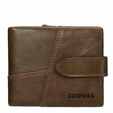 Genuine Leather Wallet Mens Purse Coin Credit Card Holder ID Brown Trifold Retro