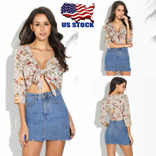 Womens Floral Print 3/4 Sleeve Crop Tops Strappy Tie Waist Top T Shirt Blouse US