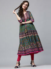 Indian Bollywood Kurta Kurti Designer Women Ethnic Green Tunic Summer Kameez