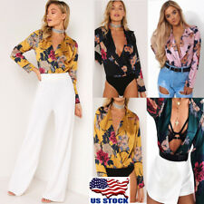 Women Sexy Deep V-Neck Loose Jumpsuits Rompers Floral Tops Long Sleeve Blouse US