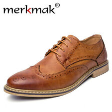 Merkmak New 2018 Luxury Leather Brogue Mens Flats Shoes Casual British Style