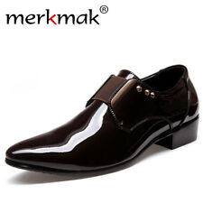 Merkmak Luxury brand Patent Leather Men Business Dress Shoes Black Brown Oxford