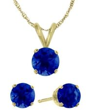 14K YG Genuine 1.80tcw. Sapphire Solitaire Pendant and Earrings Set