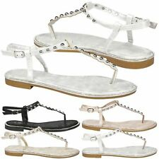 Lae Womens Flats Low Heels Summer Dressy Casual Studded Sandals Ladies Shoes New