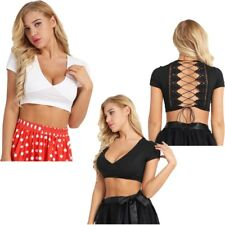 Women Deep V Neck Crop Tops Back Criss Cross Blouse Short Summer Tee Beachwear