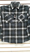 Mens Yago Longsleeve Button Down Plaid Flannel Collar Shirt in Dark Gray & Blue