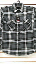 Mens Yago Longsleeve Button Down Plaid Flannel Collar Shirt in Dark Gray & Green