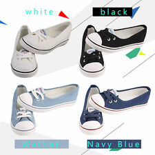 Women Casual Canvas Work Flats Loafers Slip On Soft Fashion Boat Shoes VE