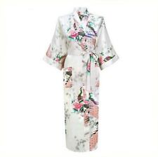 White Newest Women Kimono Bathrobe Bridesmaid Wedding Robe Night Gown Sleepwear
