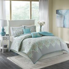Comfort Spaces – Mona Cotton Printed Duvet Cover Set - 3 Piece – Teal Grey –
