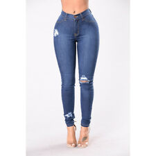 Sexy Women's Ripped Skinny Jeans Stretch Casual Pants Butt Lift Denim Blue