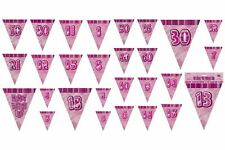 9ft Pink Glitz Triangle Flag Bunting (Pennant Banner) Party Decoration 1-100