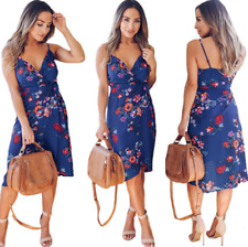 Womens Strappy V Neck Floral Print Evening Party Ladies Wrap Midi Dress Sundress