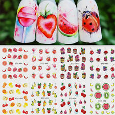 8PCS Summer Fruit Ice Cream Cake Manicure Nail Art Water Transfer Stickers Decal