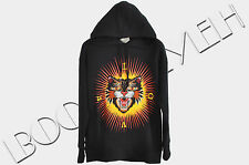 GUCCI 1650$ Authentic New Black Oversized Cotton 'Angry Cat' Embroidery Hoodie