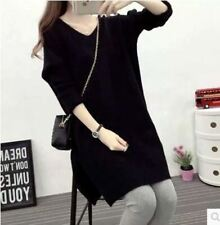 Casual V Neck Loose Long Sleeve Solid Pattern Knitted Sweaters Dress For Women